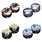 Value Pack 4 PAIRS Alien Gorilla Leopard Tiger Acrylic Flesh Tunnels Ear Plugs