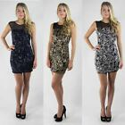 Ladies Womens New Sequin Pattern Mini Bodycon Dress with Sheer Neckline