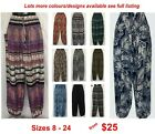 Harem Genie Ladies Gypsy Boho Yoga Printed Pants sizes 8 10 12 14 16 18 20 22 24