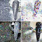 11 x SILVER NAIL ART GLITTER  HOLOGRAPHIC METALLIC CHUNKY FINE MIXES DOTS DISCS
