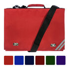 Classic School Book Bag Briefcase Messenger 6 Colours Strap Additional Pockets
