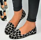 Womens Ballet Dolly Pumps Ladies Ballerina Flat Animal Look Black Shoes Size 3-8
