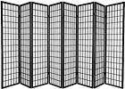 6 and 8 Panel Japanese-Oriental Style Shoji Screen Room Divider Black Color