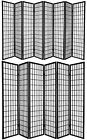 6 and 8 Panel Japanese Oriental Style Shoji Screen Room Divider Black Color