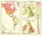 Old Western Hemisphere Map - British Trade - Newnes 1907 ...