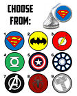 108 Superhero Logo Birthday Party Favors Hershey Kiss Labels - Batman Superman