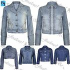 Womens Ladies Studded Buttoned Coat Outerwear Cropped Denim Jeans Jacket Top