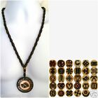ETHNIC INSPIRED: MENS WOMENS AFRICA ADINKRA SYMBOL PENDANT WOOD BEAD NECKLACE