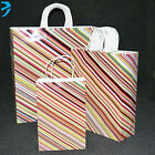 LUXURY PAPER CARRIER BAGS GLOSSY with TWISTED HANDLE (pack of 25) CANDY STRIPE