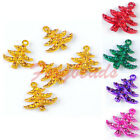 5pc Rhinestone Enamel Colors Christmas Tree Charm Pendant Beads Xmas Gift DIY fb