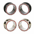 Value Pack 2 PAIRS Clear Red Crystals Black Silver Steel Flesh Tunnels Ear Plugs