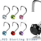 1pc 20g .925 Sterling Silver w/ 3mm Round CZ Prong Set Nose Screw (Choose color)