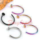2X 316L Stainless Steel Nose 8MM Open Hoop Ring Non Piercing Fake Illusion Gift