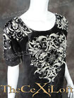 Womens VOCAL Shirt Short Sleeve Black Acid Wash with Cross and Florals