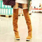 Free Ship Women Hot Faux Suede Winter Warm Flat Over The Knee High Boots Shoes