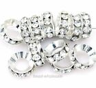 15Pcs Silver/Gold Plated Crystal Rhinestone Big Hole Metal Bead Jewellery Making