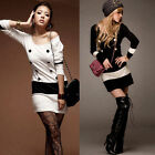 Korean Women Long Sleeve Slim Stretch Bodycon Party Shirt Mini Dress Clubwear