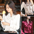 Fashion Womens OL Long Sleeve Bowknot Satin Shirts Office Slim Tops Blouse Tee