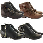 WOMENS LADIES LOW HEEL CHELSEA TRIM BIKER ANKLE FLAT SHOE BOOTS BOOTIES SIZE