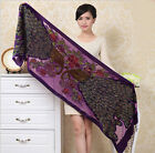 Free Shipping Women's Fashion Silk Velour Beads Sequin Peacock  Shawl Scarf Wrap