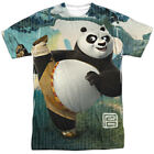 Kung Fu Panda Cartoon Action Movie Po Stretching Adult Front Print T-Shirt
