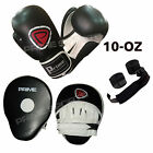 BOXING GLOVES SPARRING FIGHT TRAINING PUNCH BAG FOCUS PADS HAND WRAPS SET 4