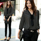 Women Fashion 3/4 Sleeve Chiffon Polka Dot Casual Shirt Top Blouse T-Shirt Slim
