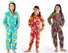 NEW GIRLS DUCK  MULTI  ANIMAL ALL OVER PRINT SOFT FLEECE ONESIE AGE 7-13 YEARS