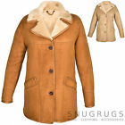 Ladies / Womens Full Sheepskin Coat with Raglan Sleeves - Mushroom & Tan