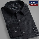 Polka Dot multi pure colors men's long sleeve comfortable cotton dress shirts 01