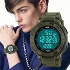 Men Boy LED Digital Chronograph Date Waterproof Compass Outdoor Sport Army Watch