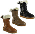 NEW WOMENS LADIES BUCKLE QUILTED MID-CALF LOW HEEL WINTER FUR BOOTS SHOES SIZE