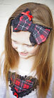 Flukes designer childrens bow lace tartan headband hair accessory christmas