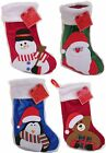 SEASONAL SANTA SNOWMAN PENGUIN BEAR FUR TOP KIDS CHRISTMAS STOCKINGS GIFT 49B067