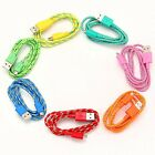 3M Bright Colorful Hemp Rope USB Micro Sync Data Cable Cord Cell Phone Mobile