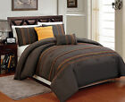 5 pcs Soft Microfiber Comforter Set King Queen Full Size Brown