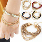 Womens Handmade Gold Chain Braided Rope Multilayer Bracelet Bangle 6Colors Pick