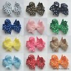 Baby/Girls Handmade Small 2 inch POLKA DOT Butterfly Hair Bow Clip bobble