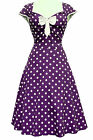 LADY VINTAGE ISABELLA DRESS Cadbury Purple Polka Dot 1950s Swing SIZE 8-30