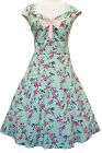 LADY VINTAGE ISABELLA DRESS Green Birds & Birdcages Floral 1950s Swing SIZE 8-30
