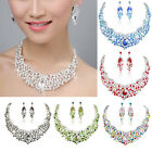 14Color Retro Vintage Bridal Hot Selling Necklace Earring Set Rhinestone Crystal