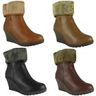 NEW WOMANS LADIES ANKLE FUR BUCKLE MID HEEL OFFICE FASHION BOOT SHOES SIZE 3-8