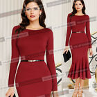Womens Elegant Tunic Cocktail Evening Party Prom Mermaid Bodycon Midi Dress 136