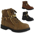 WOMENS LADIES ANKLE LACE UP GOLD BUCKLE FLAT SHOES COMBAT BOOTS TRAINERS SIZE UK