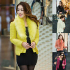 Warm Women Faux Fur Collar Slim Overcoat Parka Short Down Coat Jacket Outerwear