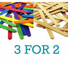 50 x Full Size Flat Wooden Lollipop Ice Lolly Sticks Art + Craft Plain/Coloured