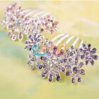 Purple Pink Multi Flower Crystal Rhinestone Tuck Comb Hair Pin Clip Gift Wedding
