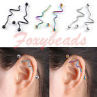 2X Stainless Steel Twist Long Industrial Barbell 14G Ear Stud Cartilage Piercing