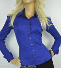 Karen Millen Blue Black Stretch Cotton Tailored Long Sleeve Dinner Shirt 14 42