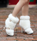 Winter Womens Big Fur Snow Boots Buckle Decro High Heel Pump Party Ankle Shoes